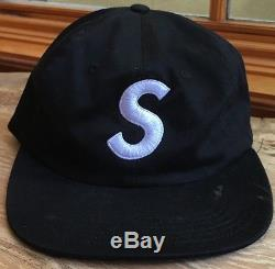 100% authentic Supreme S Logo 6 Panel Camp Cap Black