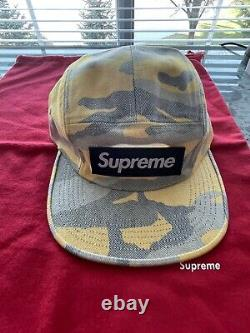 AUTHENTIC Supreme Box LogoWashed Out Yellow Camo 6 Panel Camp Cap Hat