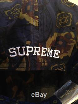 BNWT 100% Authentic Supreme x Stone Island Paisley Camp caps in Navy/Burgundy