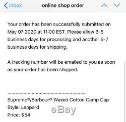 CONFIRMED Supreme/Barbour Waxed Cotton Camp Hat (Leopard)