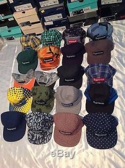 Collection of 98 Supreme Box Camp cap hat 5 panel Moss Kermit Dipset Tyson RARE
