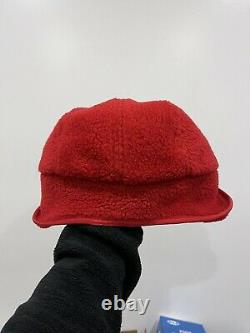 NWT Supreme Deep Pile Earflap Camp Cap 2020 Red IN HAND Size MEDIUM/LARGE