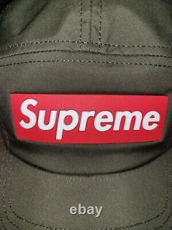 NWT Supreme Inset Red Rubber Box Logo Nylon Hat Camp Cap Olive FW20 DS AUTHENTIC