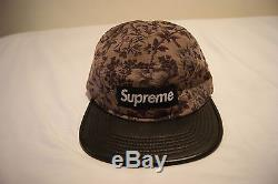 NWT Supreme Liberty Pinwale Cord Leather Camp Cap Floral Hat Rare Fast Shipping