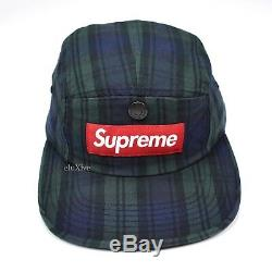 NWT Supreme NY Blackwatch Plaid Snap Pocket Red Box Logo Camp Cap Hat AUTHENTIC