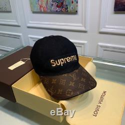 New Louis Vuitton Supreme Cap Collaboration Camping Hat Genuine Leather