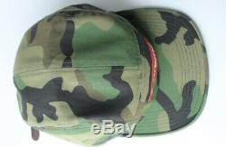 SS16 Supreme Green Camo Woodland Washed Chino Twill Camp Cap Hat with Box Sticker