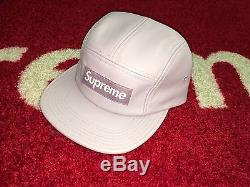 SUPREME 2015 F/W CDG BOX LOGO LEATHER CAMP CAP PCL HAT COMME PURPLE STRAPBACK