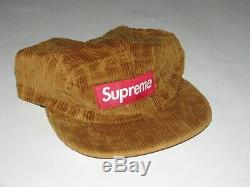 SUPREME NY Rope Corduroy Camp Cap BROWN Hat Adjustable NEW S/S 2019 USA Made