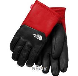 SUPREME The North Face Leather Gloves Red Black M box logo camp cap tnf F/W 17