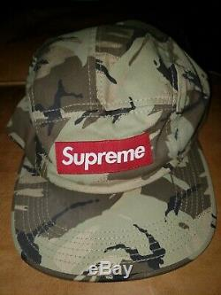 SUPREME WASHED CHINO TWILL CAMP CAP DESERT CAMO HAT early 2000's. Red box logo