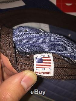 Supreme Embossed Stone Washed Denim Blue Camp Cap SS16