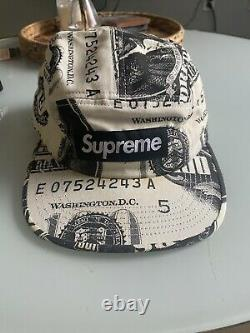 Supreme FW13 Franklin Money Camp Cap 5 Panel White. Stained