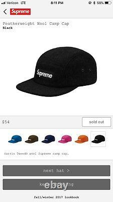 Supreme Featherweight Wool Camp Cap Black box log, 100% Authentic