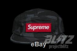 Supreme Military Camp Cap Black Tribal Camo Fw19 Hat Olive Red Box Logo Cdg