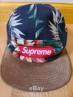 Supreme Navy Floral Camp Hat SS12 USED 100% AUTHENTIC