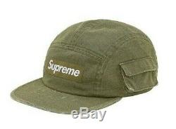 Supreme Pigment Dyed Snap Pocket Camp Cap Hat Olive Strapback FW19H7 FW19 DS New