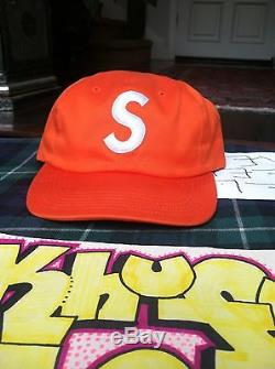 Supreme S Logo Cap Camp Hat Snapback Orange S/S15 Box Red Burgundy 6-Panel