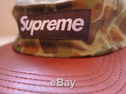 Supreme Tan Duck Camo Leather Bill Camp Cap 5 Panel New DS Twill jacket leopard