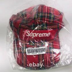 Supreme Washed Chino Twill Camp Cap Red Tartan Plaid One Size FW20H7