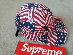 Supreme Washed Chino Twill Camp Hat American Flags Red S/S 2020 + lighter case