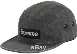 Supreme Washed Linen Camp Cap Black SS19 DEADSTOCK Ready to Ship